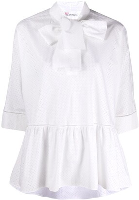 RED Valentino Poplin Bow-Embellished Perforated Blouse