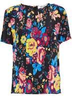 Diane von Furstenberg Pintucked Floral-Print Silk Crepe De Chine T-Shirt