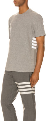 Thom Browne 4 Bar Short Sleeve Cuff Tee in Light Grey | FWRD