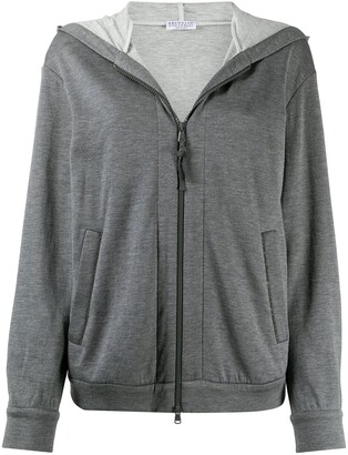 Brunello Cucinelli Zipped Long-Sleeve Hoodie