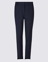 Per Una Cotton Blend Step Hem Slim Leg Trousers