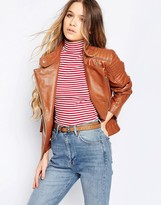 Barney's Originals Leather Biker Jacket with Quilting and Buckle Detail
