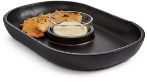 Hotel Collection Black Wood Chip & Dip Bowl, Created for Macy's