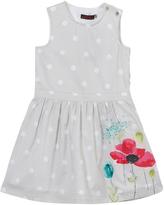 Catimini Grey Spot and Floral Print Dress