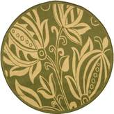 "Safavieh Courtyard Collection CY2961-1E06 Olive and Natural Indoor/ Outdoor Round Area Rug, 6 feet 7 inches in Diameter (6'7"" Diameter)"