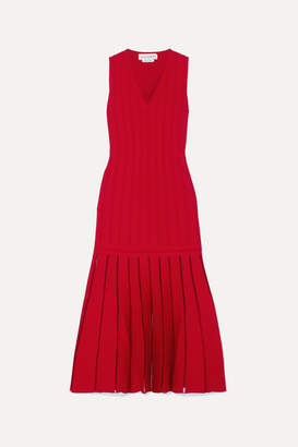 Alexander McQueen Pleated Ribbed-knit Midi Dress - Red