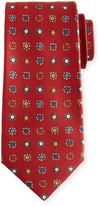 Kiton Circle in Box Silk Tie, Red