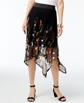 INC International Concepts Embroidered Mesh Handkerchief-Hem Skirt, Only at Macy's