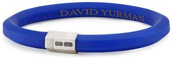 David Yurman Men's Rubber & Sterling Silver Hex Bracelet, Blue