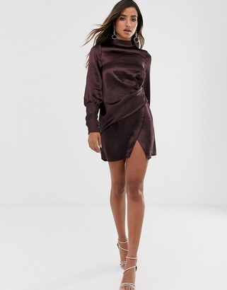 Asos Design DESIGN long sleeve mini dress in satin with drape detail