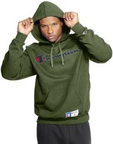 Champion Men's Retro Graphic Pullover Hoodie (, SERVICE GREEN HEATHER )