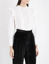 Masscob Ruffled fil-coupé cotton blouse