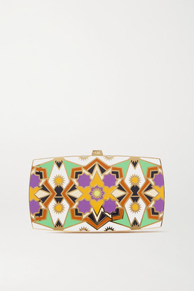 13BC Kaleidoscope Gold-tone And Enamel Clutch - White