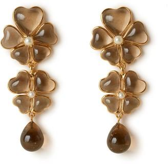 Mulberry Flower Garden Pendant Earrings Nude Brass