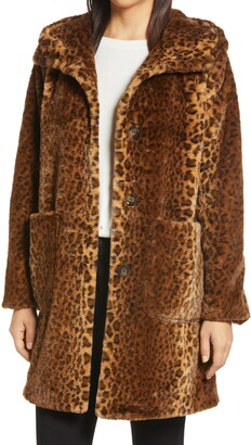 Bernardo Leopard Faux Fur Hooded Coat