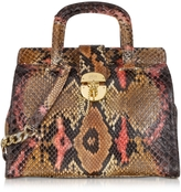 Ghibli Brown and Pink Python Satchel Bag w/Detachable Shoulder Strap