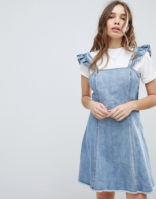 Only cami ruffle denim mini pinafore