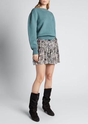 Etoile Isabel Marant Kelaya Crewneck Puff-Sleeve Sweater