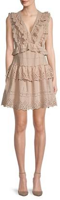 BCBGMAXAZRIA Day V-Neck Lace Eyelet Mini A-Line Dress