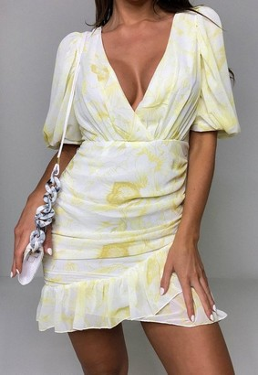 Missguided Yellow Floral Print Ruched Ruffle Hem Mini Dress