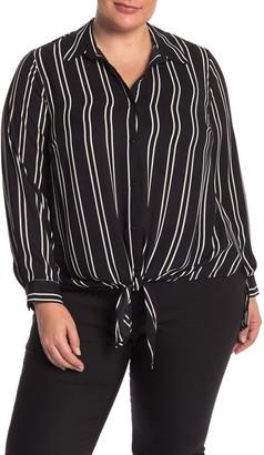 Dr2 By Daniel Rainn Printed Tie Front Tunic Blouse (Plus Size)