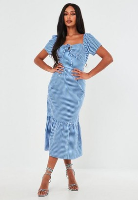 Missguided Blue Gingham Tie Front Tiered Midi Dress
