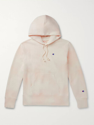 Champion Logo-Embroidered Tie-Dyed Fleece-Back Cotton-Blend Jersey Hoodie