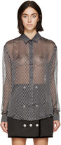 Anthony Vaccarello Black and Grey Flocked Spot Shirt