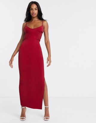 Flounce London cami midi dress with open back in red