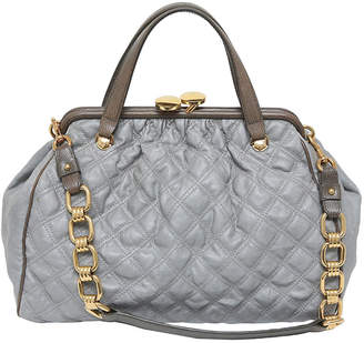 Marc Jacobs Grey Quilted Coated Canvas Stam Satchel Bag