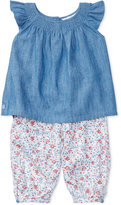 Ralph Lauren Chambray Top & Floral-Print Leggings Set, Baby Girls (0-24 months)
