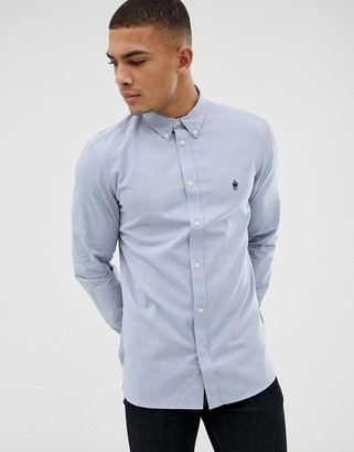 French Connection Essentials oxford shirt with long sleeve in blue