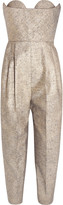 DELPOZO Strapless metallic tweed jumpsuit
