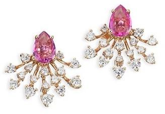 Hueb Diamond, Sapphire & 18K Rose Gold Stud Earrings