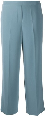 Theory Pleat Detail Wide-Leg Cropped Trousers