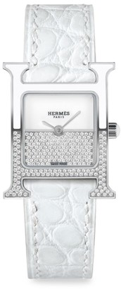 Hermes Heure H 21MM Diamond, Stainless Steel & Alligator Strap Watch