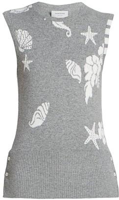 Thom Browne Ocean Floor Printed Cashmere Shell Top