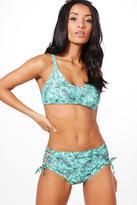 Boohoo Prague Leaf Print High Waist Cropped Bikini