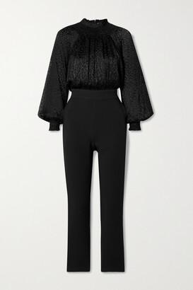 MICHAEL Michael Kors - Smocked Devore-satin And Stretch-crepe Jumpsuit - Black