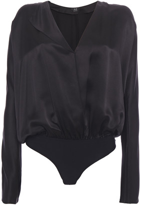 Alix Wrap-effect Silk-charmeuse Bodysuit