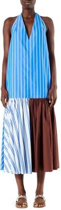 Tibi Vivian Striped Halterneck Midi Dress