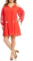 Gibson & Latimer Plus Cold-Shoulder Floral-Embroidered Sleeve Shift Dress