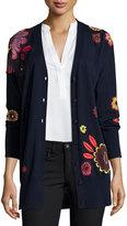 Burberry Floral-Embellished Wool V-Neck Cardigan