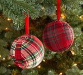 Pottery Barn Plaid Fabric Ball Ornament