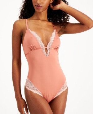 INC International Concepts Inc Women's Lace-Trim Thong Bodysuit, Created for Macy's