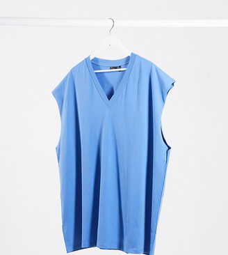 ASOS DESIGN Plus oversized longline sleeveless t-shirt with v neck in blue