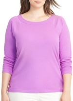 Lauren Ralph Lauren Plus Stretch Cotton Raglan Sleeve Top