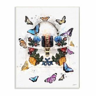 Stupell Industries Fashion Buckle Purse Colorful Butterflies and Florals Canvas Ziwei Li Wall Art 16 x 20