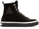 Jimmy Choo Black Leopard Boris High-Top Sneakers