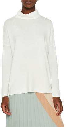 Esprit Womens Natural Structured Roll Neck Sweater - Natural